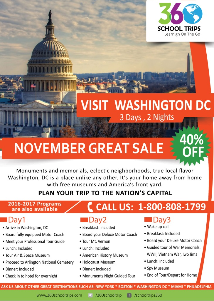 November Great Sale 40% Off Visit Washington DC 3 Days 2 Nights