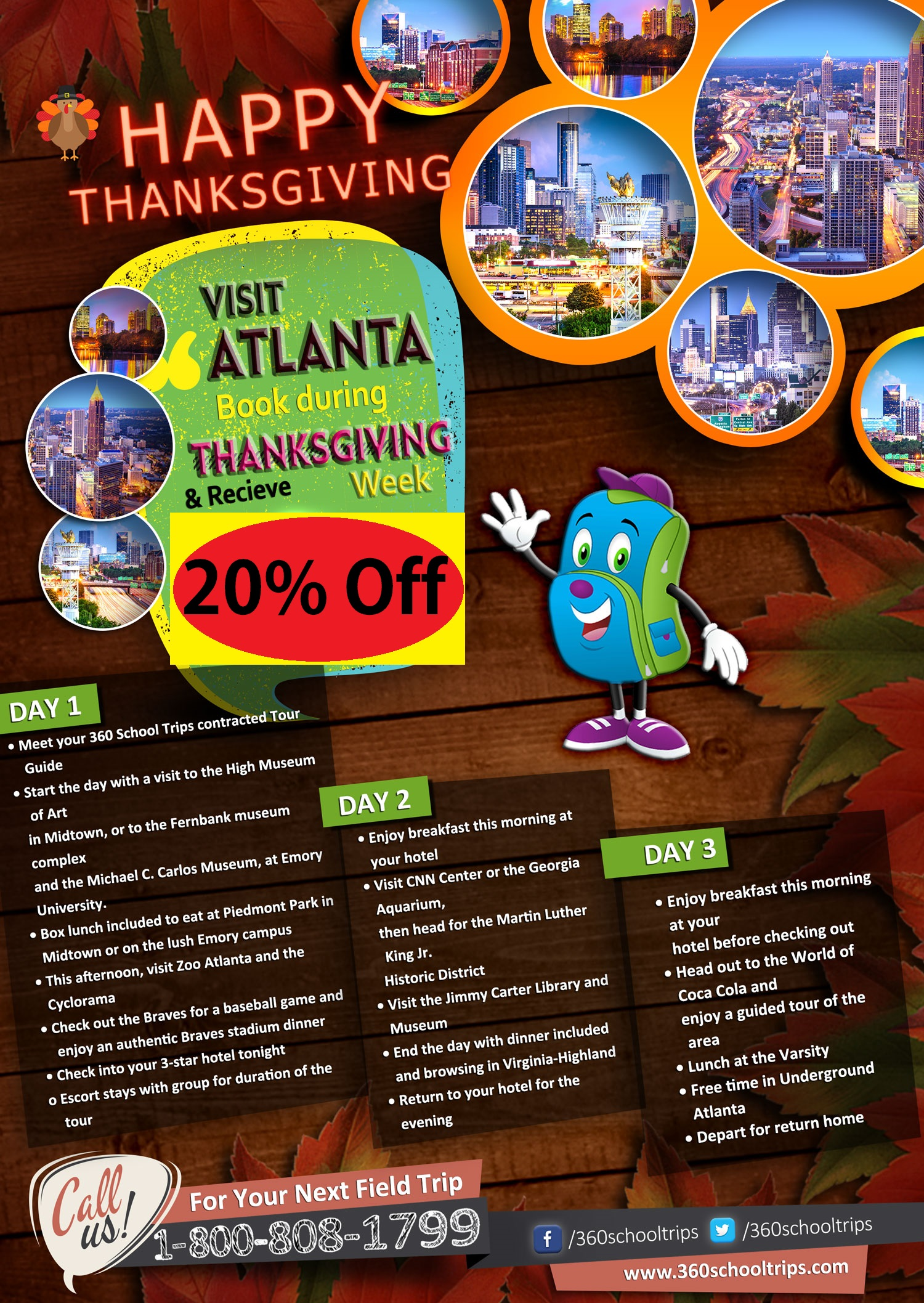 Visit Atlanta Book During ThanksGiving Week & Receive 20% Off