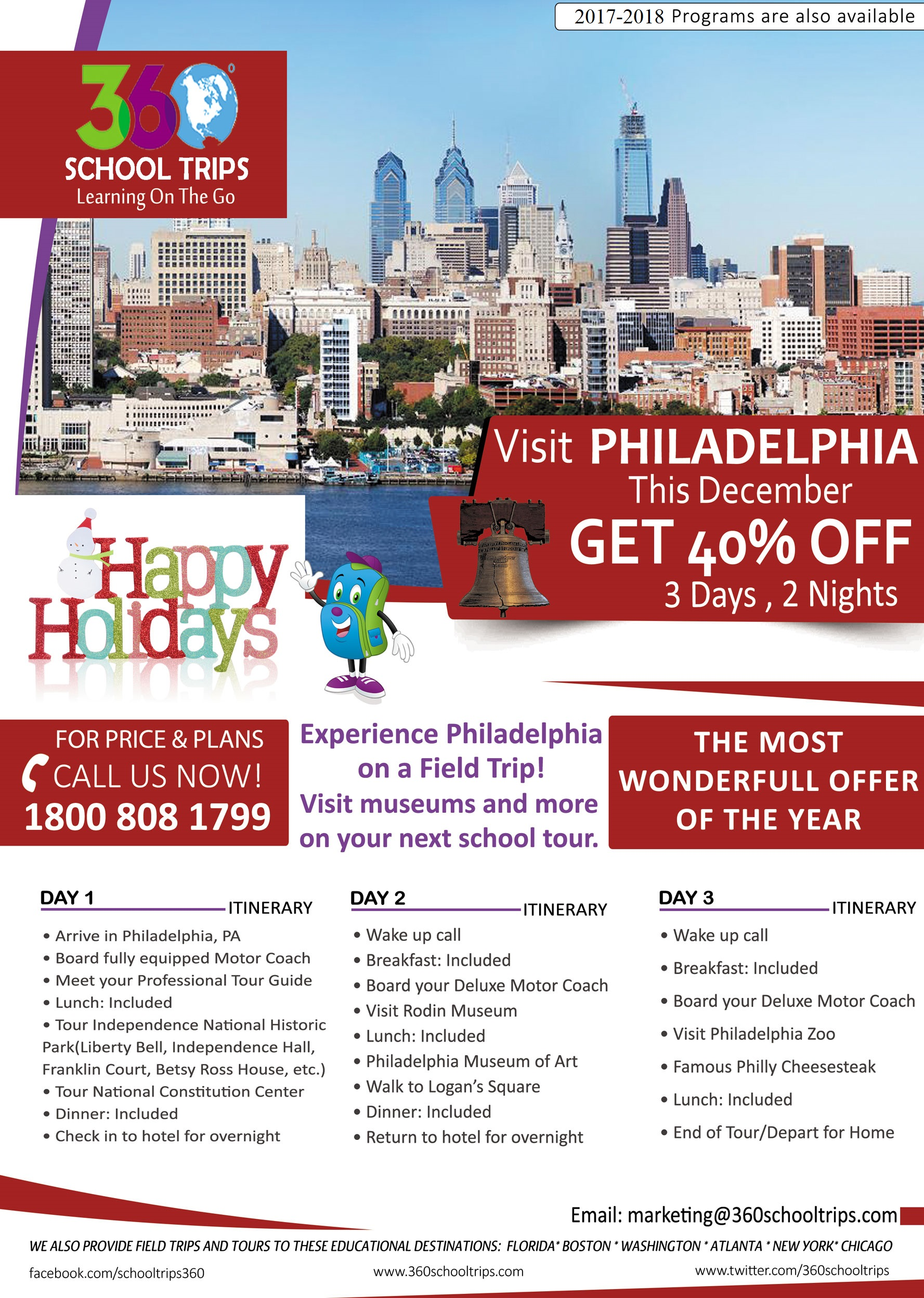 Happy Holidays Sale Visit PHILADELPHIA This December & Receive 40% Off
